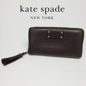 Kate Spade Leather Wallet Tassel Accordion Clutch